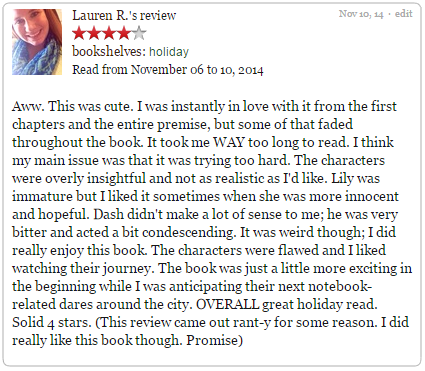 goodreads review dash lily